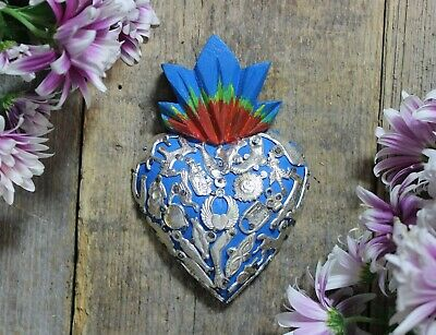 Sm Sacred Heart & Milagros Wood Miracle Michoacán Love Token Mexican Folk Art