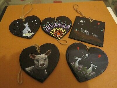 Ginger Cat /& hare and full moon  11CM slate heart painting VALENTINE gift idea