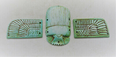 Circa 500Bce Ancient Egyptian Glazed Faience Winged Scarab With Heiroglyphics