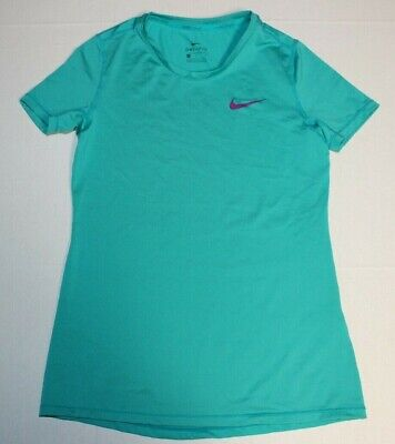 Girls Nike Dri-Fit Pro Cool Short Sleeve Athletic Shirt Top Large Teal 819730