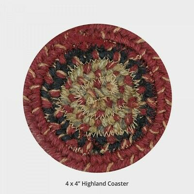 "Set of 4 Homespice Decor CANTERBURY Braided 4/"" Coasters"