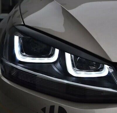 Volkswagen Black Golf MK7 Carmonsons Headlights Eyebrow Eyelids