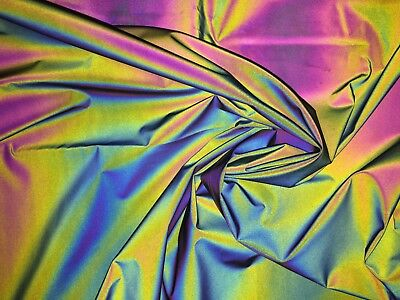 Rainbow Iridescent Retro Reflective WOVEN cotton rich Fabric, High-Vis