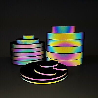 High Visibility,Rainbow Iridescent Retro REFLECTIVE,Sew-On TAPE 10mm &25mm width
