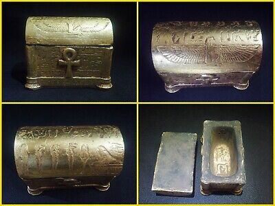 EGYPTIAN ANTIQUES ANTIQUITIES Lided Stone Sarcophagus Coffin Tomb 1549-1081 BC