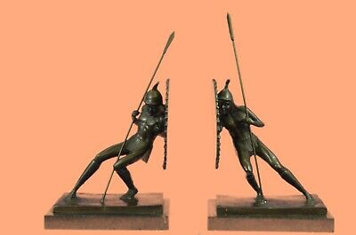 100% Solid Museum Quality 2 Japanese Warrior Bronze Sculpture Lost Wax Method
