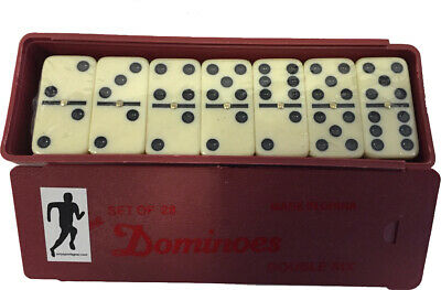 Club Dominoes Pub Indoor Game With Brass Spinner 10.5mm Thickness Plastic Box
