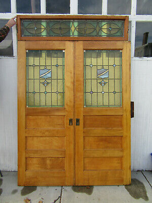 ~ Antique Stained Glass Entryway Pocket Doors And Transom ~ 66 X 98 ~ Salvage