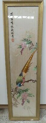 Original Framed Early Japanese Silk Embroidery Pheasant Wall Panel