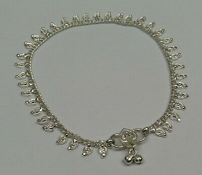 One Fair Trade Silver Coloured Anklet Indian Made Paisley * Belly Dancing Bells
