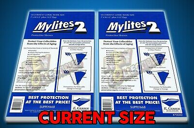 E. Gerber MYLITES2 CURRENT SIZE Comic Book Mylar Bags - 100 MYLARS - FREE SHIP