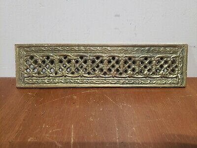 "Antique Ornate Brass Door Push Plate  3/4"" X 11 1/8"""