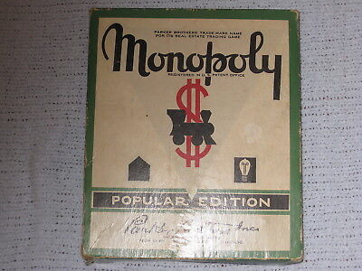 Monopoly Popular Edition Board Game 1952 Parker Brothers