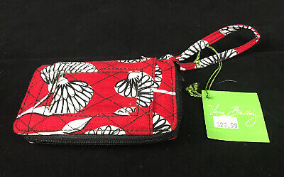 NEW Vera Bradley Deco Daisy All In One Wristlet Wallet w Phone Holder NWT Red