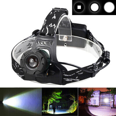 Tactical 900000Lumen Zoomable Headlamp T6 LED Headlight Flashlight+Smart Charger