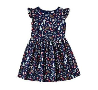 GIRLS size 7 Navy Sparkly CHRISTMAS print DRESS  frill sleeve  COTTON Target NEW