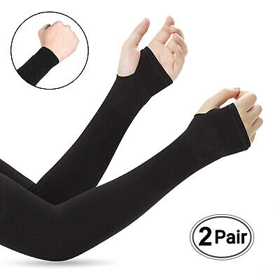 Sweat Absorbent Best Elbow Protection Compression Arm Sleeve-Black of 2 Pairs