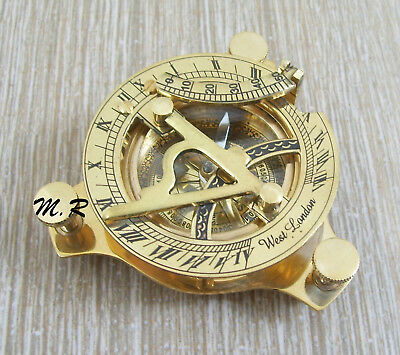Nautical Hand-Made Solid Brass Working Sundial Compass -Nautical Sundial CompasS