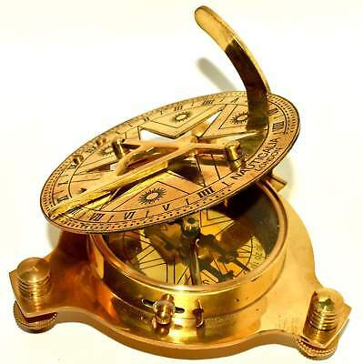 4'' Brass Sundail Compass Antique Vintage Style Nautical Maritime Hiking DECOR