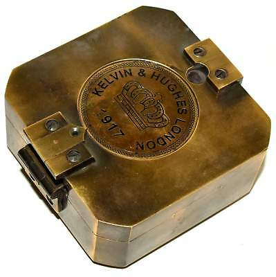 Collectible Solid Brass Kelvin & Hughes 1917 Brunton Compass/Antique Compass