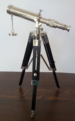 Telescope Chrome Finish With Black Wood Tripod Stand