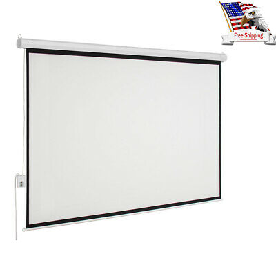 "100"" 160° 4:3 Manual Pull Down Retractable Projector Screen Home Theater Movie"