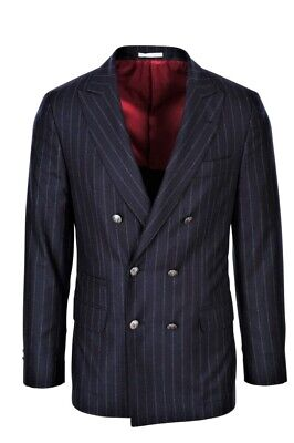 Brunello Cucinelli Blazer Men's 46 SALE !! Dark-blue Regular Fit Striped Wool