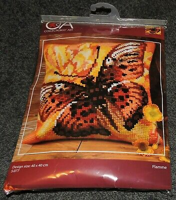 Orange Yellow Butterfly Kit Cushion Seat Cover Bag Front Tapestry Embroider New