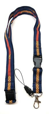 Fire Woven Lanyard, Blue, Red & Yellow, With Safety Clip