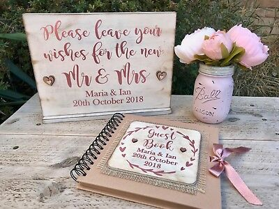 rustic wedding guest book & sign personalised rose gold Photo Booth