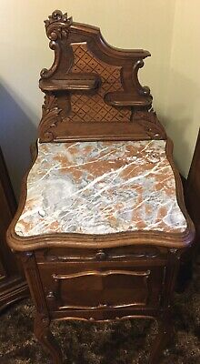 Antique French Walnut Marble Top Louis XV Antique Nightstand / Side Table Lamps