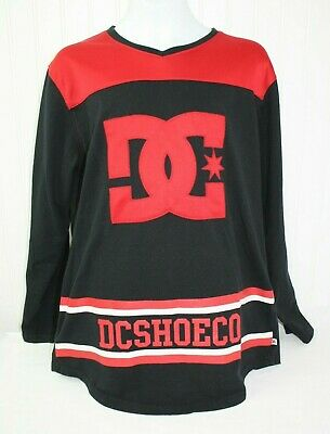 DC Shoes Co Spell Out Black and Red Long Sleeve Shirt Skateboard Boys Size XL