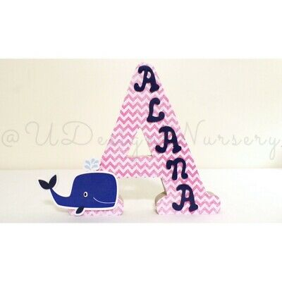 Free Standing Wooden Letters - Girls Nautical Letters For Nursery Or Baby Shower