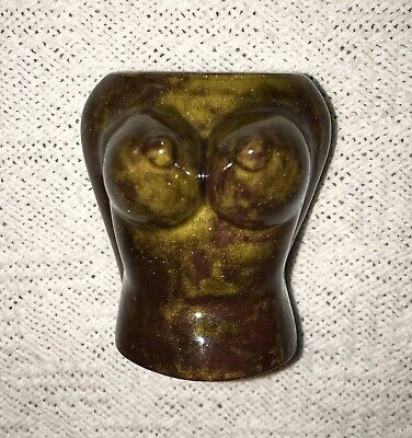 Vintage risque nude lady woman bust shot glass toothpick holder