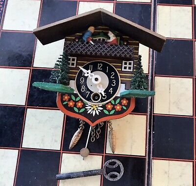 Vintage Small Black Forest Clock With Key