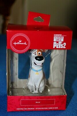 Hallmark 2019 The Dog Secret Life Of Pets 2 Red Box Christmas Ornament MAX - NIB