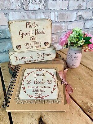 Personalised rustic rose gold & cream wedding photo guest book & sign