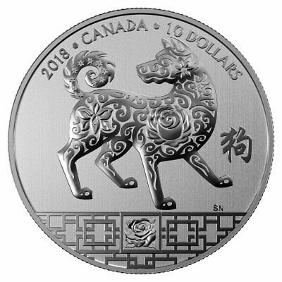 2018 $10 Fine Silver Coin Year Of The Dog - Chinese Lunar Zodiac Coin