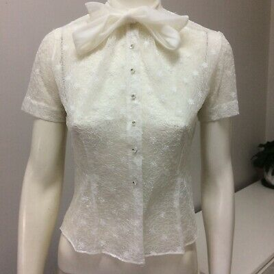 Original Vintage 40s Top Blouse ,Pussy Bow , Medium ,High Waisted , Pinup Swing