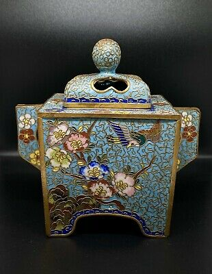 Fine Antique Chinese Cloisonne Incense Burner with Lid 5 inch Tall