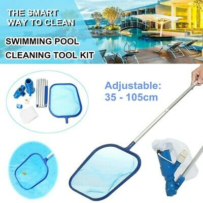 US Cleaning Maintenance Skimmer Net Swimming Pool Kit w/ Vacuum Skimmer and Pole