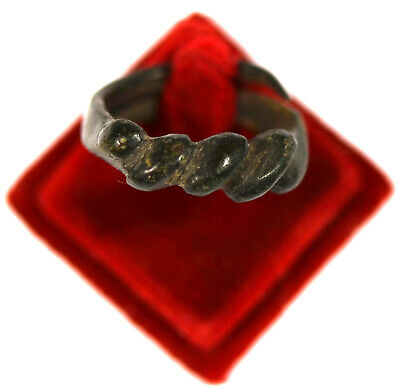 Ancient Viking bronze twisted finger ring