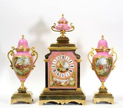 Sevres Porcelain and Ormolu Antique French Clock Set Hunting DOGS HORSES Japy