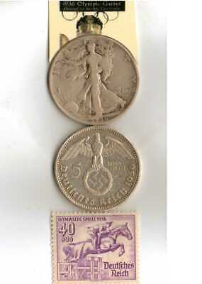 1936-*Olympic STAMP and *us and *german SILVER EAGLE(900%,) coins+*greek Stamp