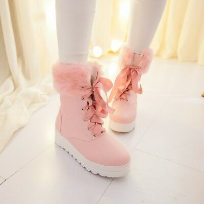 Sweet Ladies Girls Ankle Boots Fur Trim Lace up Snow Warm Shoes Size Fashion