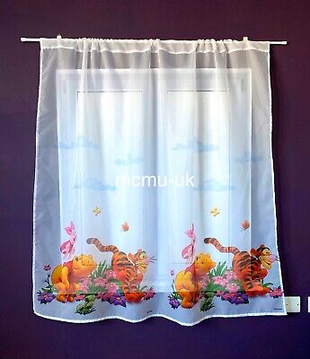 Winnie The Pooh Disney Voile Net Curtain with wrinkling Tape 155 cm Width x 154 cm Drop