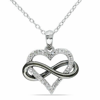 """Sterling Silver 1 Ct Diamond Heart Infinity Love Two-Tone Pendant Necklace 18"""""""