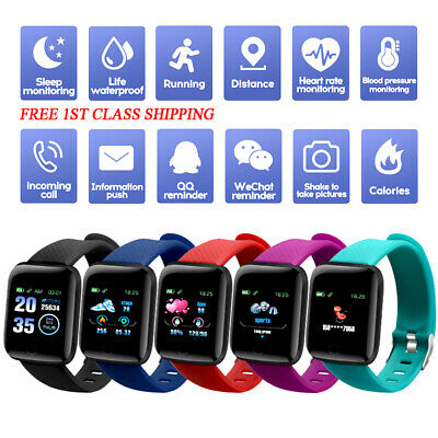 Smart Watch 116Plus Bluetooth Heart Rate Blood Pressure Monitor Fitness Tracker