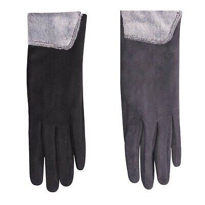 Women Ladies Winter Autumn Jersey Gloves with Leather Bow Touch Screen