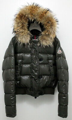 Authentic Moncler Real Down Women's Puffa Jacket FUR TRIM Size 1 UK 10 Small